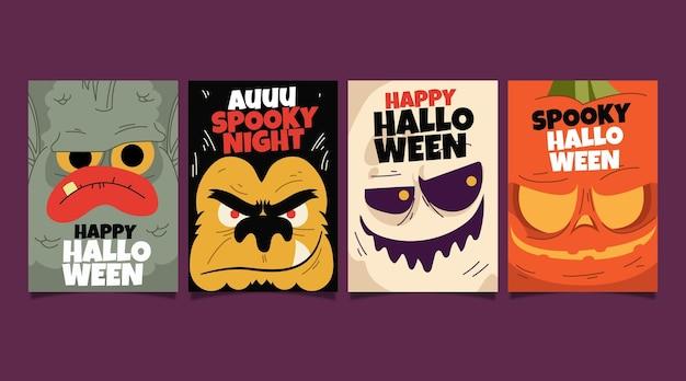 Collezione di carte di halloween piatto