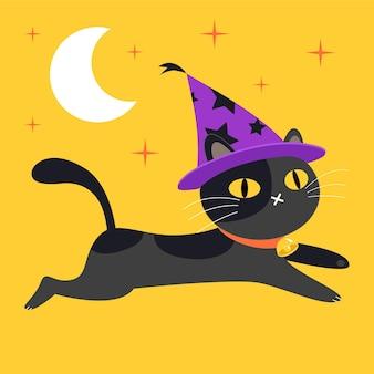 Illustrazione del gatto di halloween piatto
