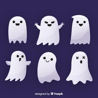 Collezione di fantasmi di halloween piatta