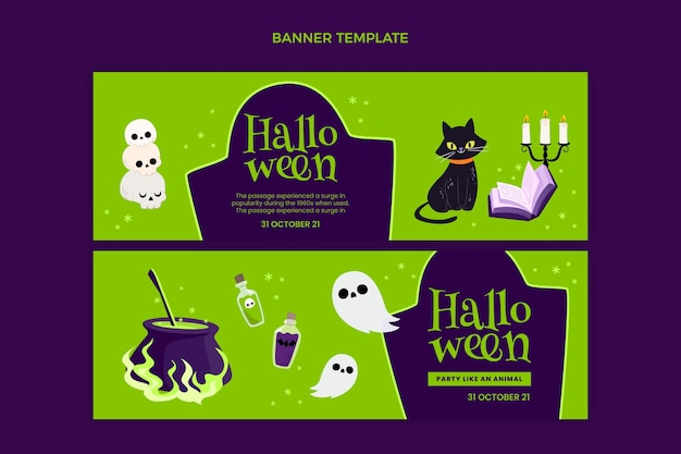 Set di banner orizzontali piatti di halloween