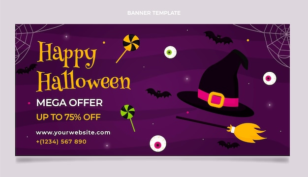 Banner di vendita orizzontale piatto di halloween