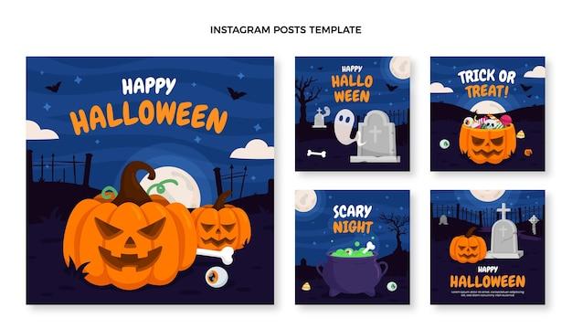 Collezione di post di instagram di halloween piatto