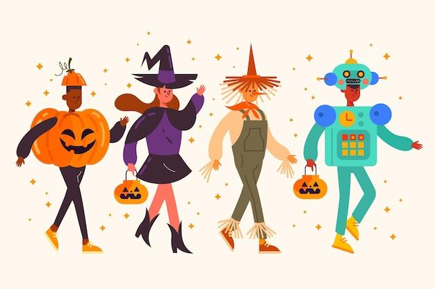 Collezione piatta per bambini di halloween