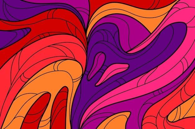 Fondo groovy colorato acido disegnato a mano piatta
