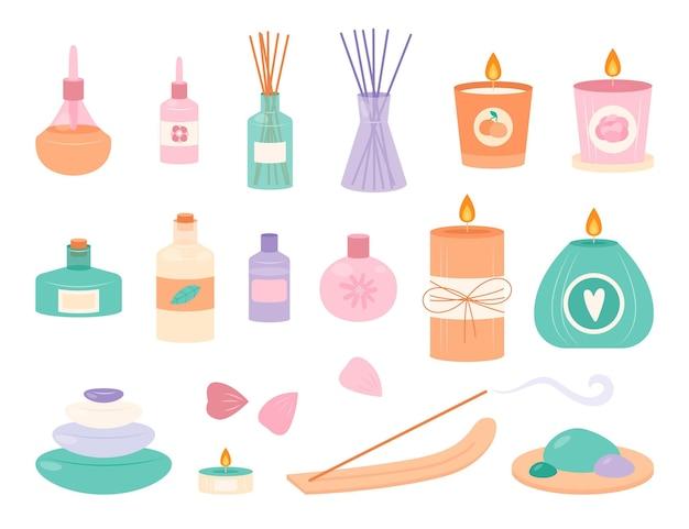 Collezione di elementi di aromaterapia disegnati a mano piatta