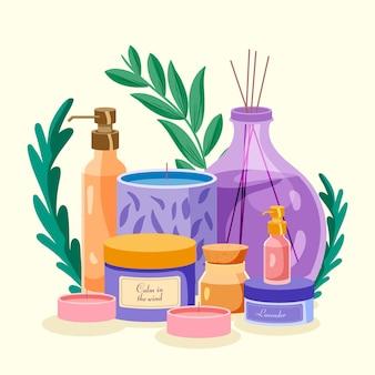 Raccolta di illustrazione dell'elemento di aromaterapia disegnata a mano piatta