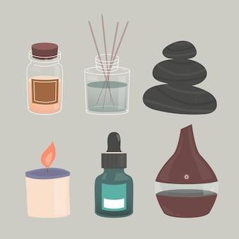 Pacchetto di elementi di aromaterapia disegnati a mano piatta