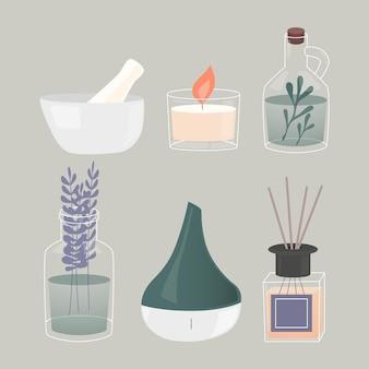 Insieme di elementi di aromaterapia disegnati a mano piatta