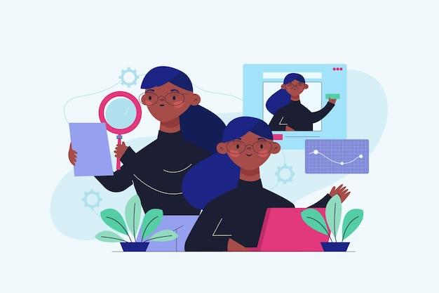 Illustrazione multitasking della donna di affari disegnata a mano piatta