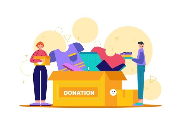 Concetto di donazione di abbigliamento disegnato a mano piatta