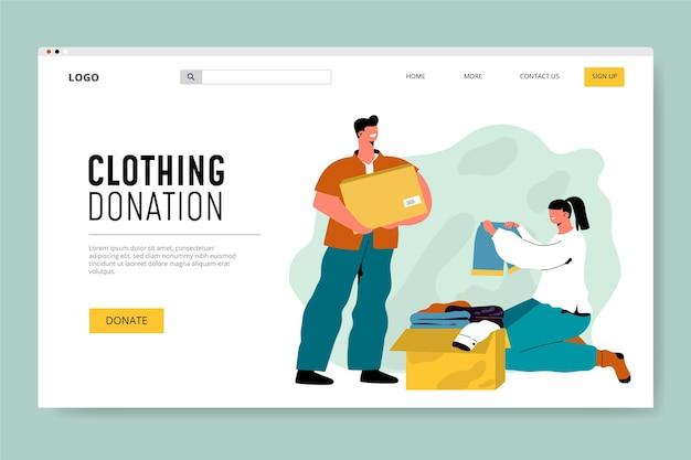 Modello web di donazione di abbigliamento disegnato a mano piatta