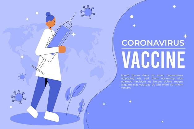 Sfondo di vaccino contro il coronavirus disegnato a mano piatta