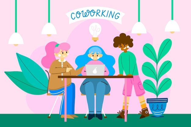 Spazio di coworking disegnato a mano piatta