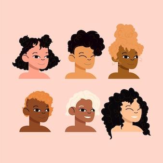 Confezione di tipi di capelli ricci disegnati a mano piatta