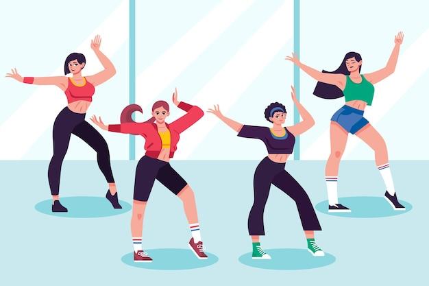 Lezione di fitness danza disegnata a mano piatta