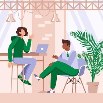 Spazio di coworking a doppia squadra disegnato a mano piatto