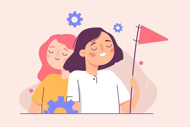 Illustrazione di leader della squadra femminile disegnata a mano piatta