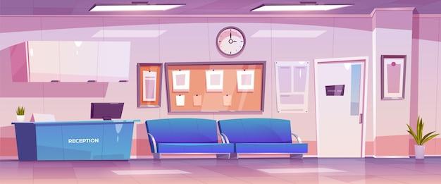 Scena di accoglienza ospedaliera disegnata a mano piatta
