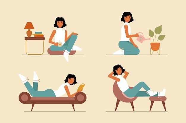 Illustrazione di stile di vita hygge disegnata a mano piatta con le persone