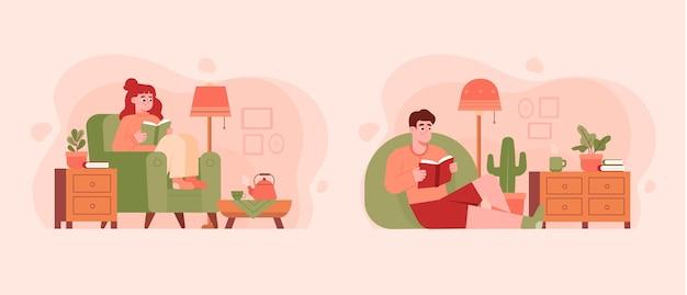 Illustrazione di stile di vita hygge disegnata a mano piatta