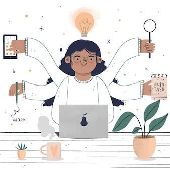 Donna d'affari multitask disegnati a mano piatta