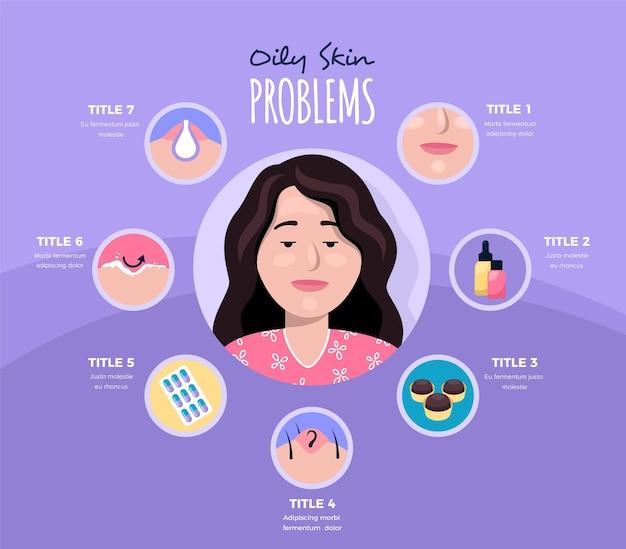 Infografica di problemi di pelle grassa disegnata a mano piatta Vettore Premium