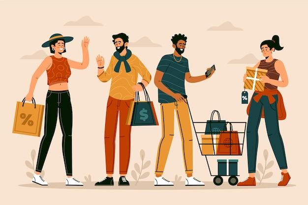 Gente disegnata a mano piatta che compera sull'illustrazione di vendita