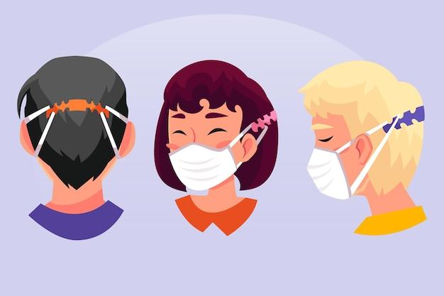 Persone disegnate a mano piatta che indossano un cinturino per maschera facciale regolabile