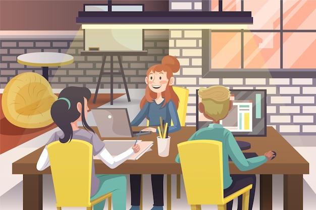Persone disegnate a mano piatta che lavorano insieme
