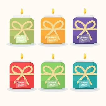 Set di candele profumate disegnate a mano piatta