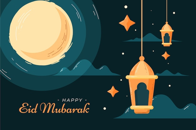Illustrazione di eid mubarak stile piatto e disegnato a mano