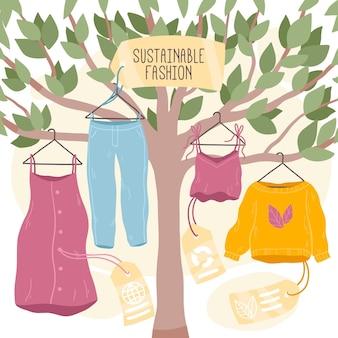 Illustrazione di moda sostenibile disegnata a mano piatta con vestiti appesi all'albero