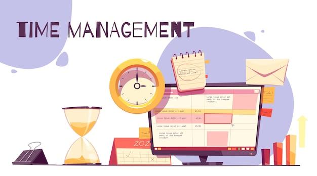 Illustrazione di gestione del tempo disegnata a mano piatta