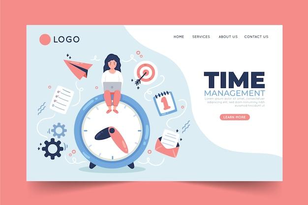 Modello web di gestione del tempo disegnato a mano piatta