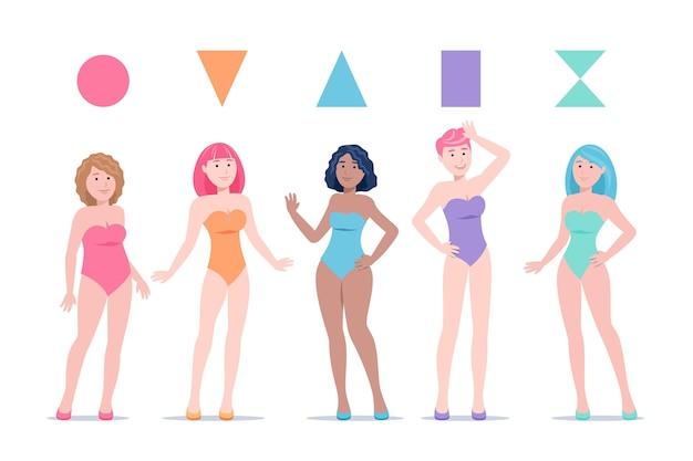 Pack di tipi di forme del corpo femminile disegnati a mano piatta