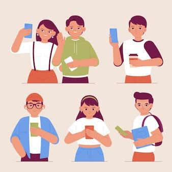 Giovani disegnati a mano piatta che utilizzano smartphone