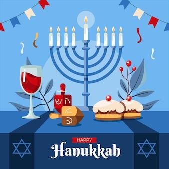 Illustrazione piatta di hanukkah