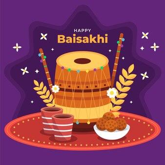 Piatto baisakhi felice illustrazione