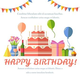Fondo festivo piatto buon compleanno con set di icone di coriandoli