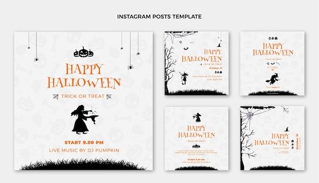 Collezione di post di instagram di halloween piatto felice