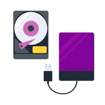 Icona del disco rigido piatto per il web unità disco rigido esterna con cavo usb isolato su bianco
