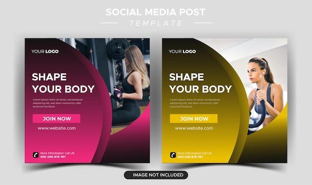 Raccolta di post instagram di salute e fitness piatta