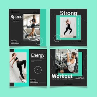 Raccolta di post salute e fitness piatta con foto