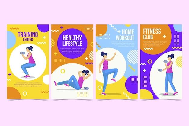 Raccolta di storie di salute e fitness piatta