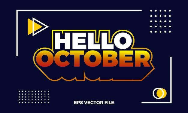 Logo e sfondo piatto ciao ottobre