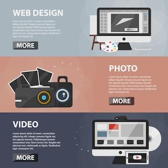 Banner orizzontali piatti di web design, foto e creazione di video per siti web e app. concetto di business del processo creativo, produzione e editing.