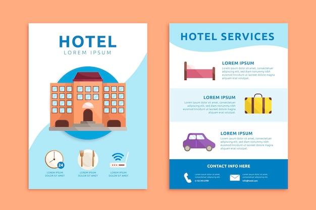 Modello di volantino informazioni hotel piatto