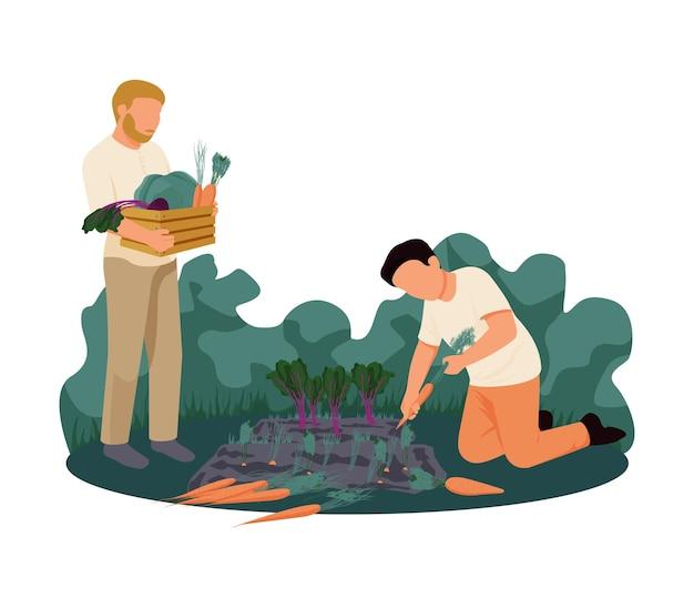 Personaggi umani piatti che raccolgono il raccolto sull'illustrazione dell'azienda agricola