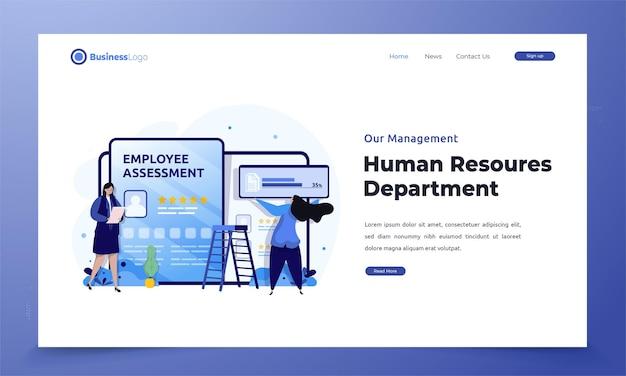 Appartamento del dipartimento delle risorse umane con valutazione dei dipendenti sulla pagina di destinazione