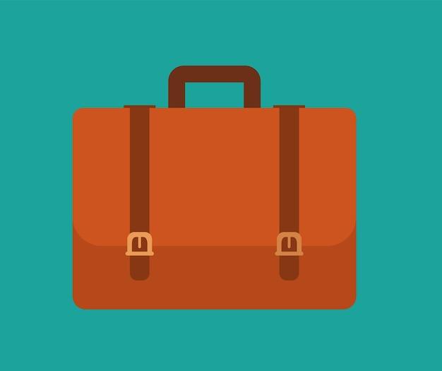 Icona piana della valigetta. isolato su sfondo verde elegante. elemento con una lunga ombra. illustrazione vettoriale moderna per web e mobile.